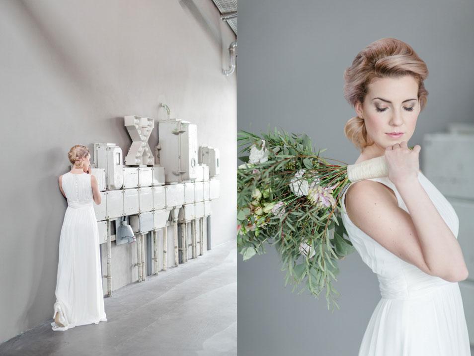 grüner Brautstrauß im Kontrast zu Industrial Look
