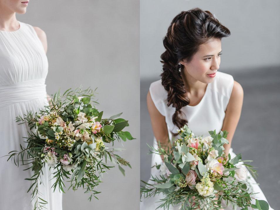 wundervoller Brautstrauß zu modernem Industrie Look