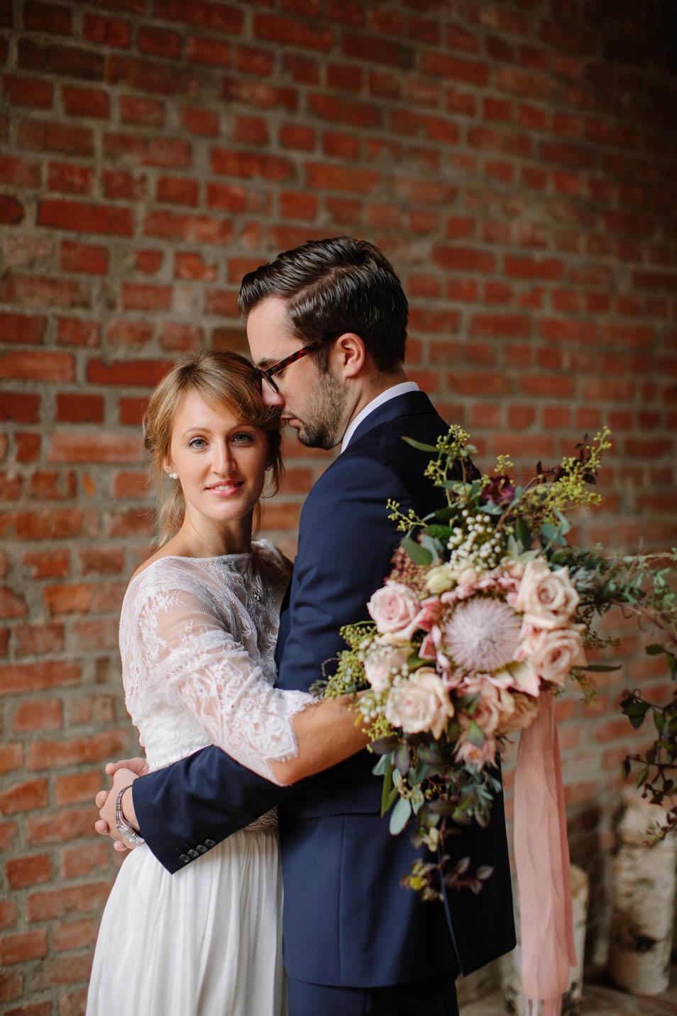 Brautstrauss in Rosetönen