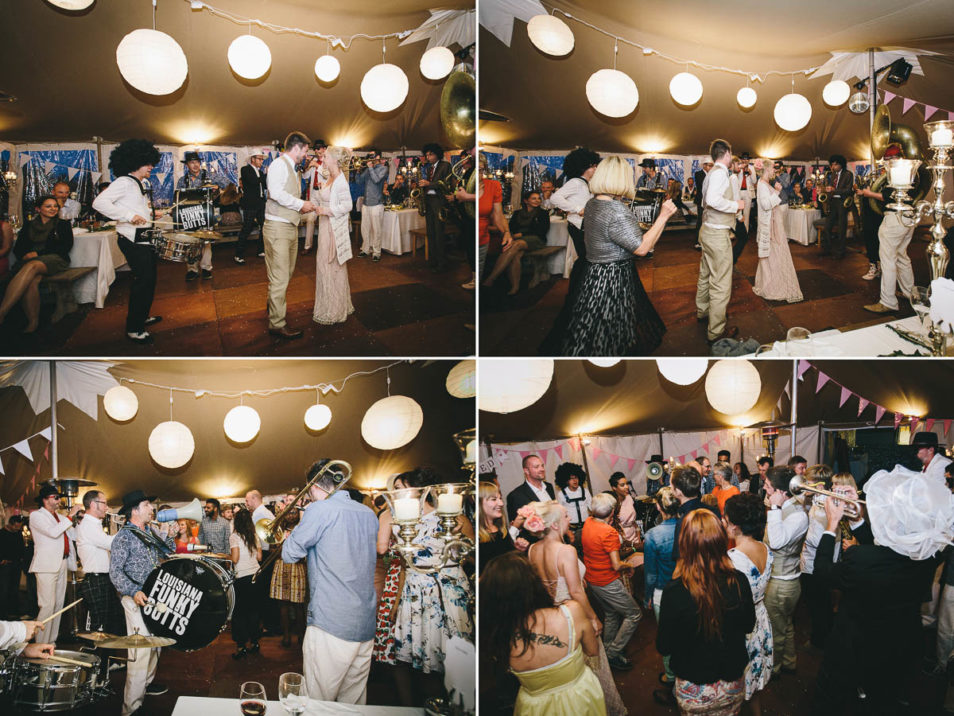 Party am Hochzeitsabend im rosa Brautkleid