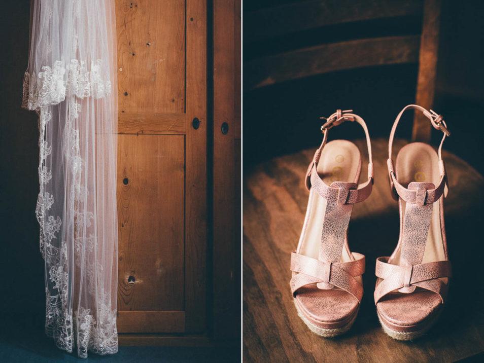 passende rosa Schuhe und Schleier