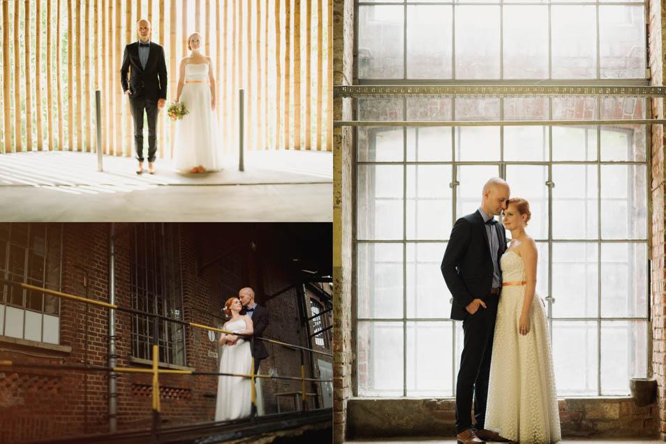 Besondere Hochzeit mit unterschiedlichen Portraitbildern des Paares