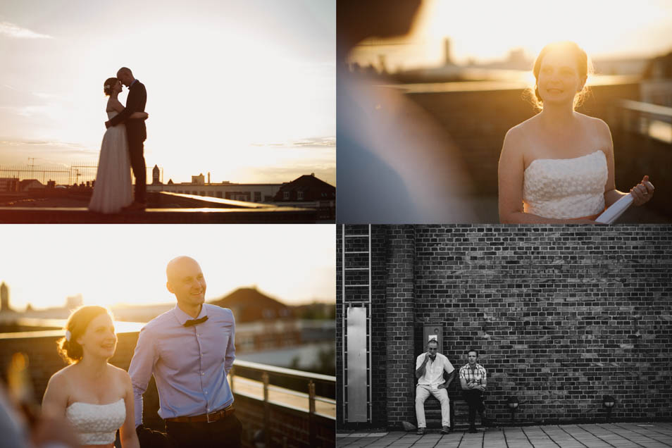 Brautpaar beim Sonnenuntergang