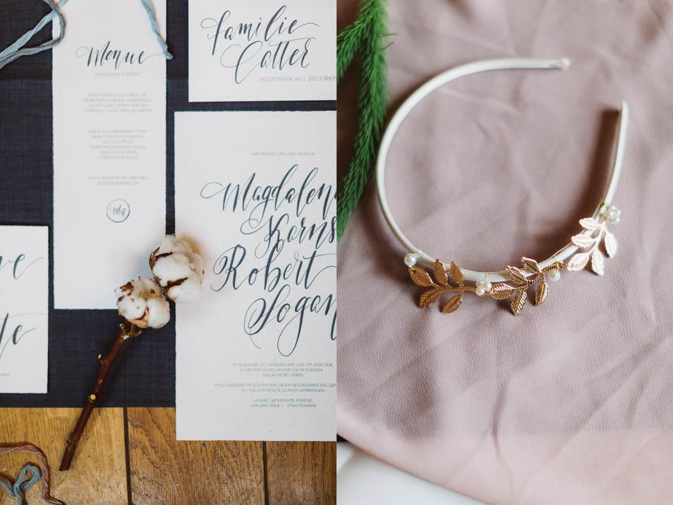 Hochzeitspapeterie und Kopfschmuck für die Braut