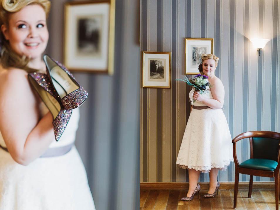 Plus Size Bride mit kurzem Brautkleid