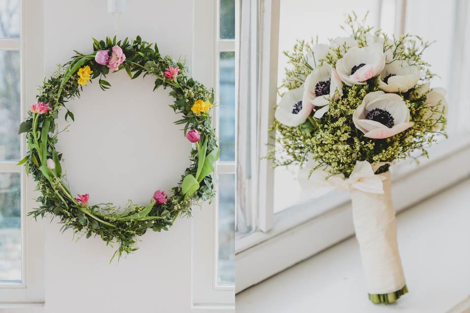 Toller Blumenkranz und Brautstrauß