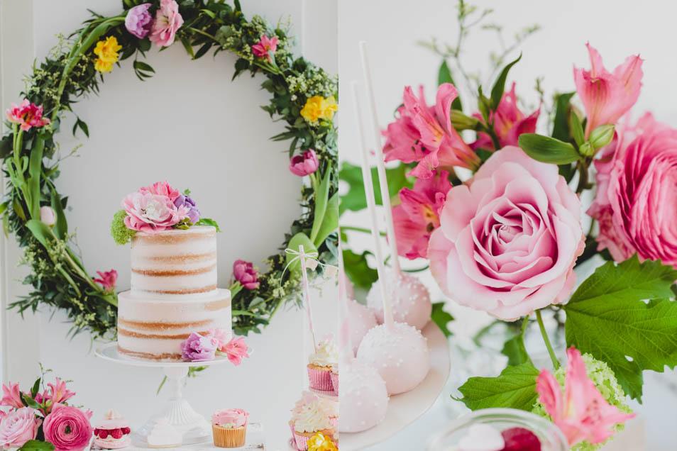 Sweet Table mit Blumenschmuck