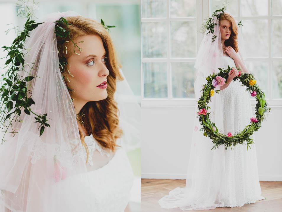Braut im Sweet Brautkleid mit Blumenkranz und Schleier