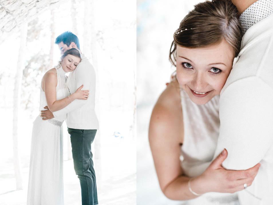Brautpaar umarmt sich verliebt