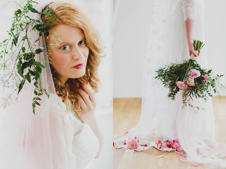 Brautschleier mit Blumen und Brautstrauß