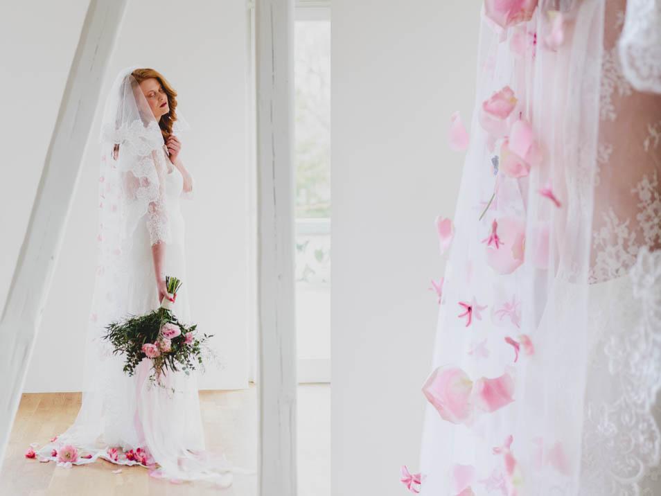 Brautschleier mit Blumenblüten