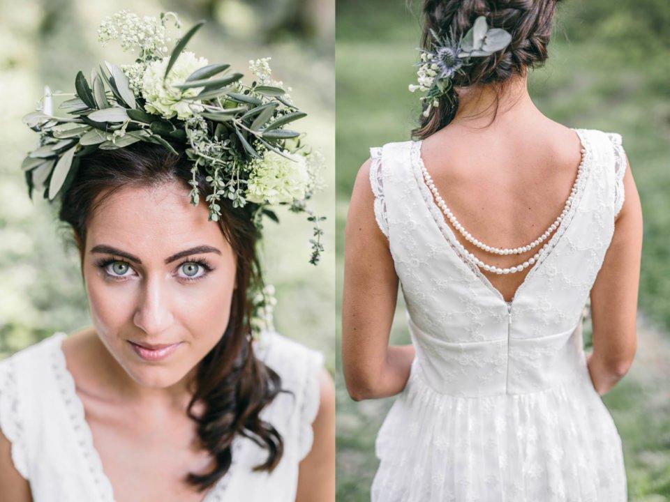 Hippie Brautkleid mit V-Ausschnitt und Braut mit Blumenkranz im Haar