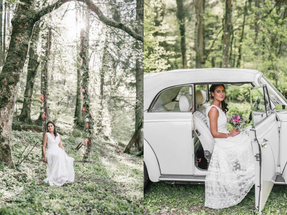 Hippie Braut auf Schaukel und im Hochzeitsauto (VW Käfer)