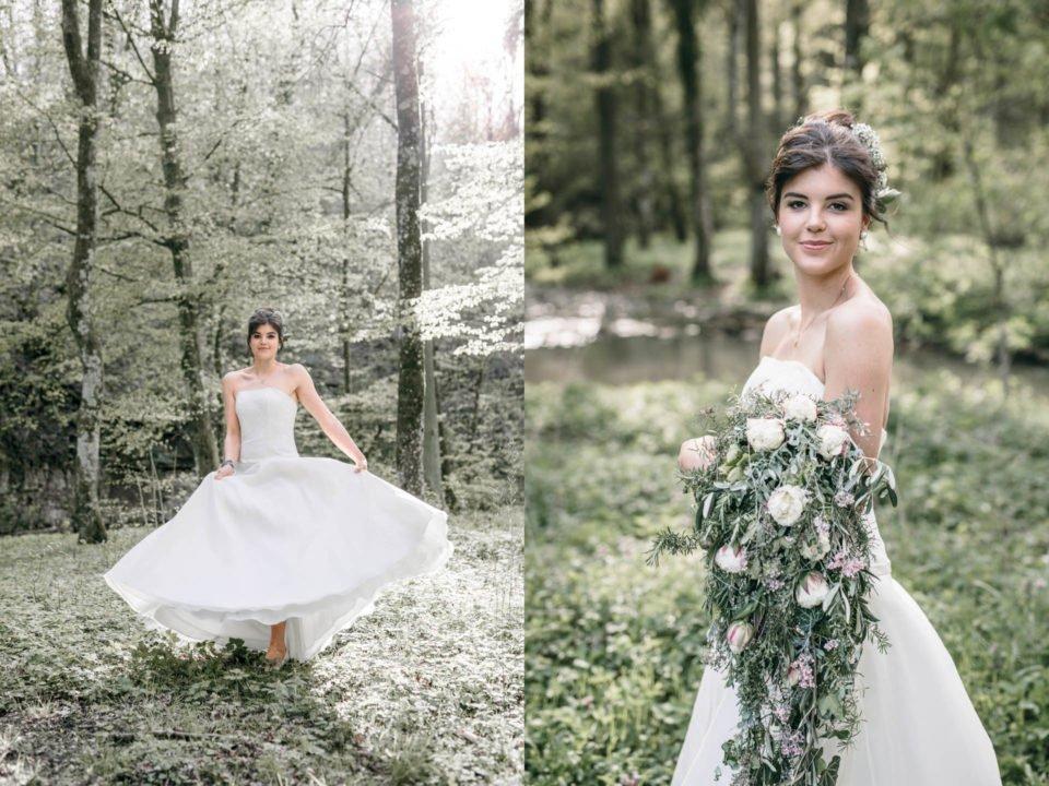 Boho Braut im A-Linien Brautkleid mit weitem Rock und Blumen