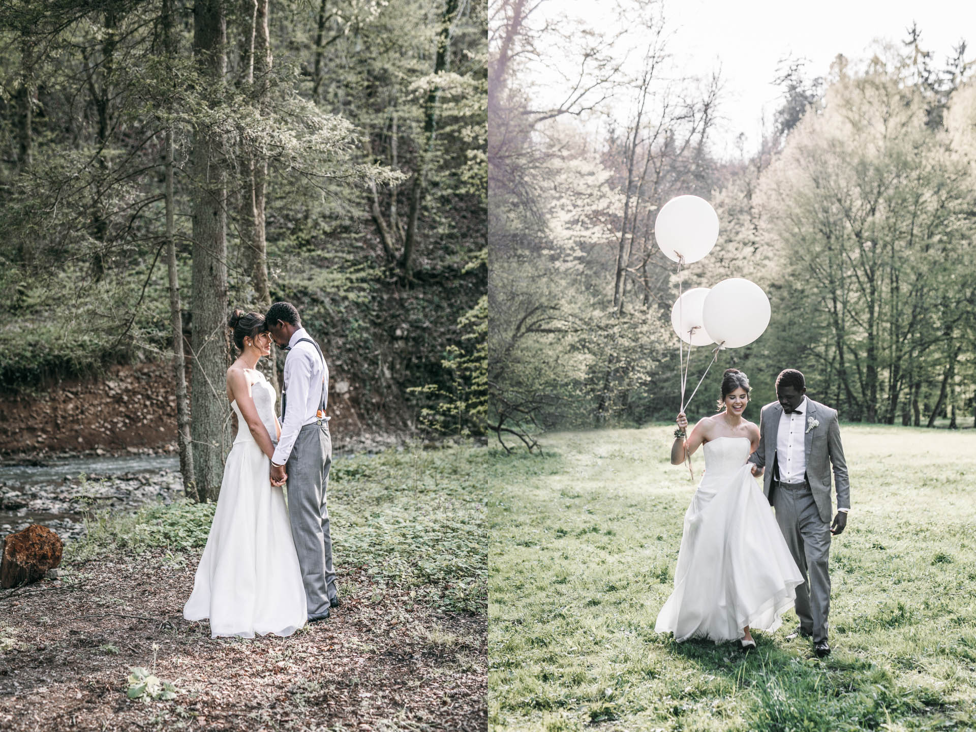 Brautpaar Hand in Hand auf der Wiese vor dem Wald