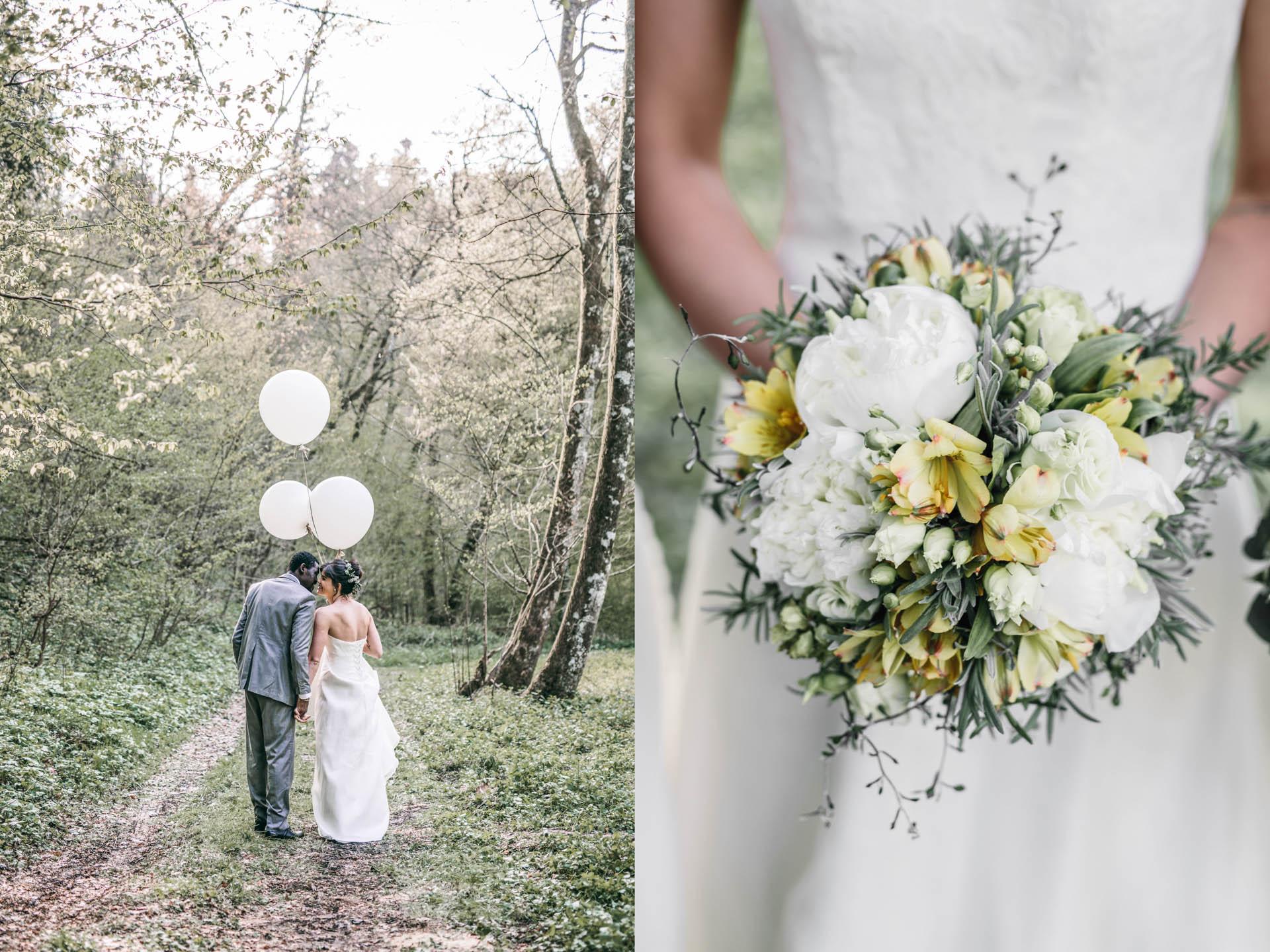 küssendes Brautpaar und Brautstraußdetail