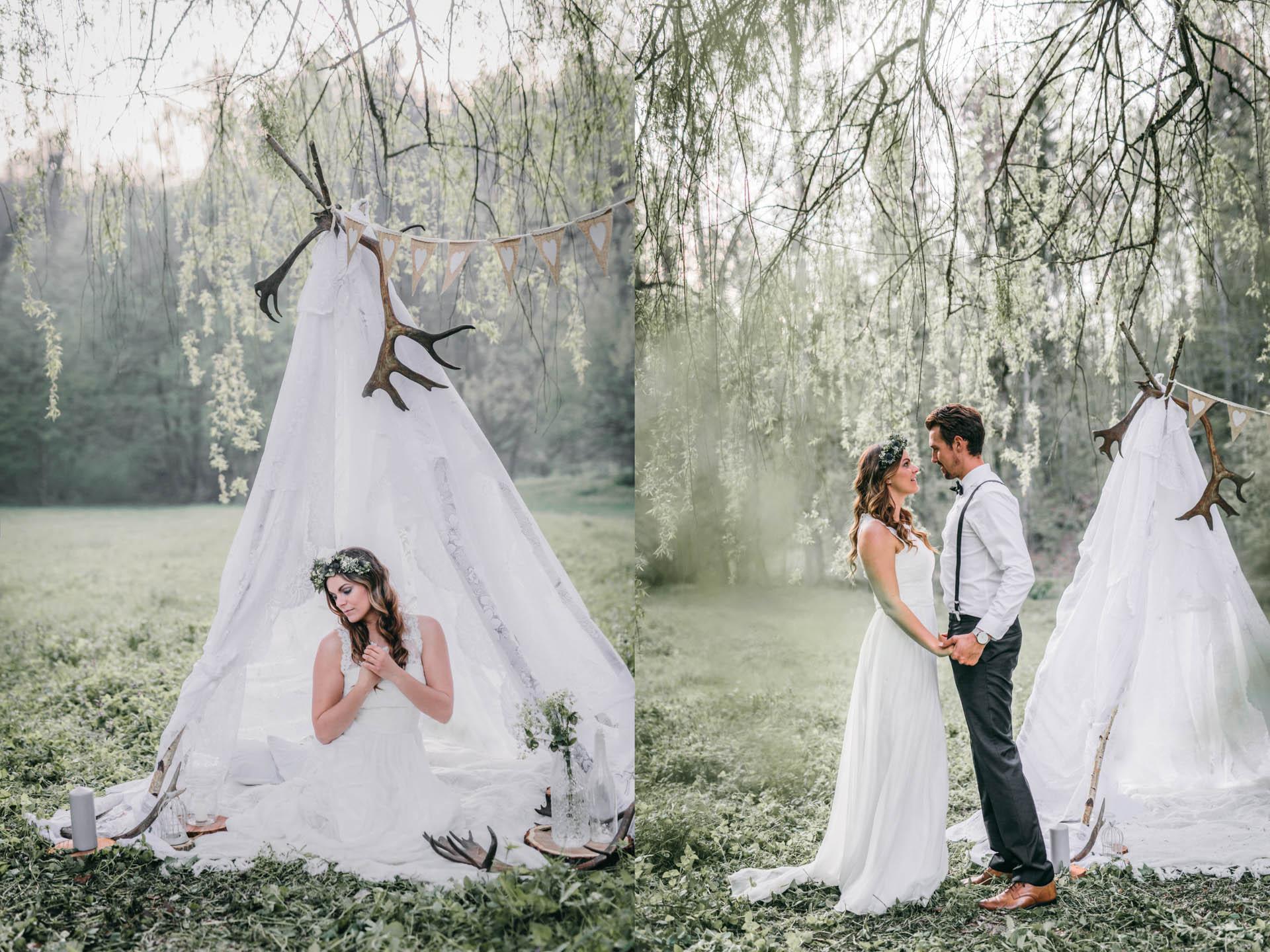 Boho Brautpaar vor dem Tipi