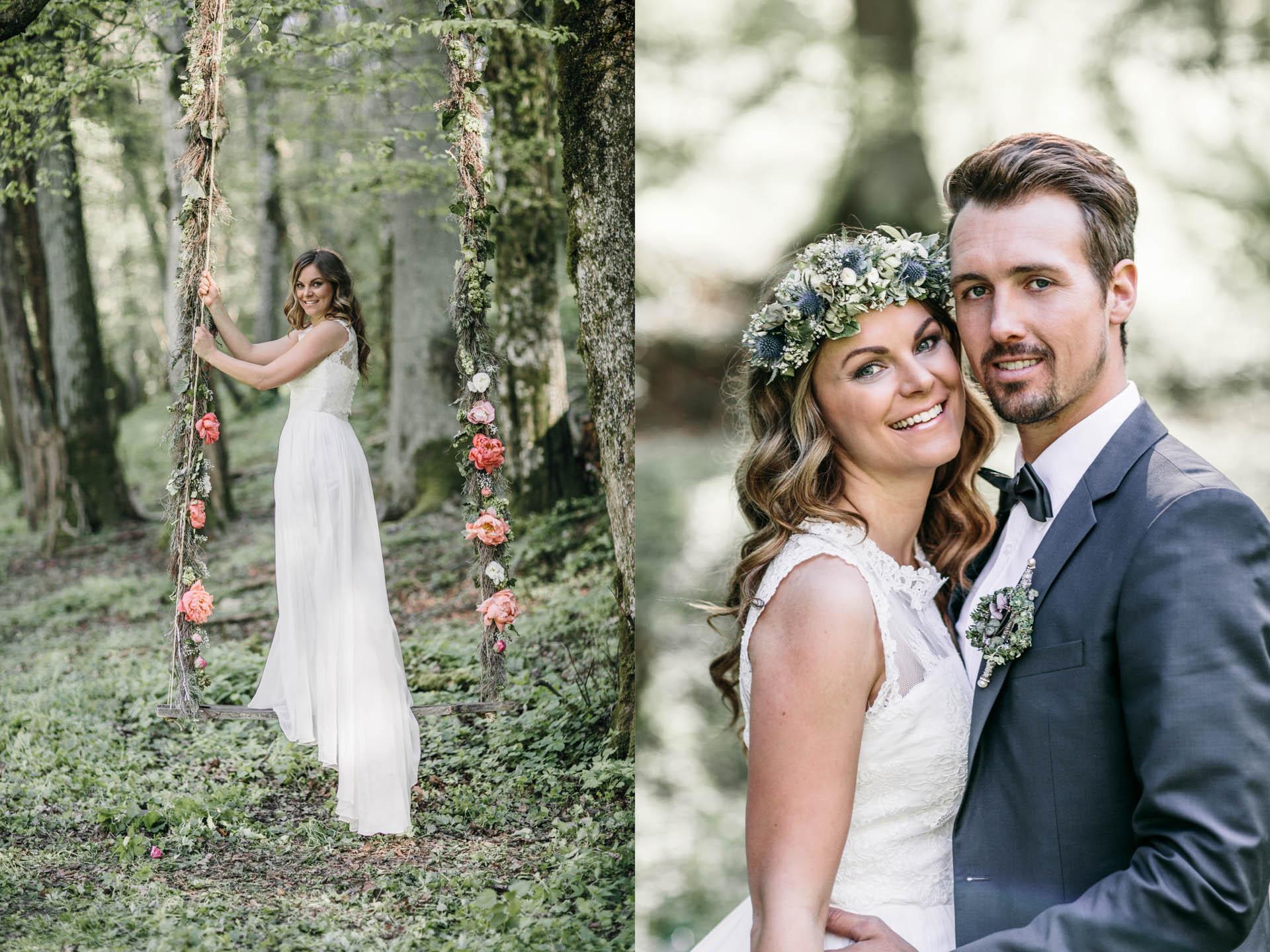Braut auf der Blumen-Schaukel und strahlendes Brautpaar rechts im Bild