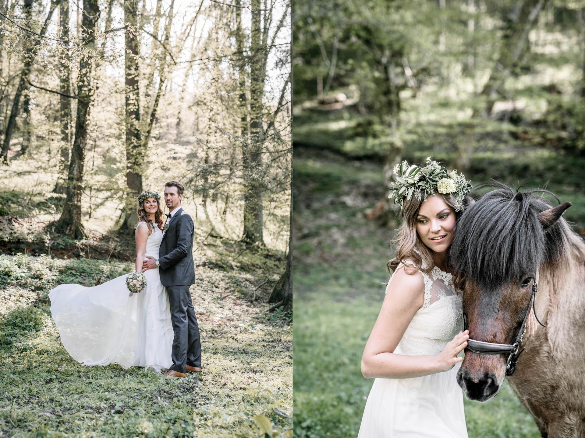 Brautpaar im Wald und Braut mit Pferd rechts
