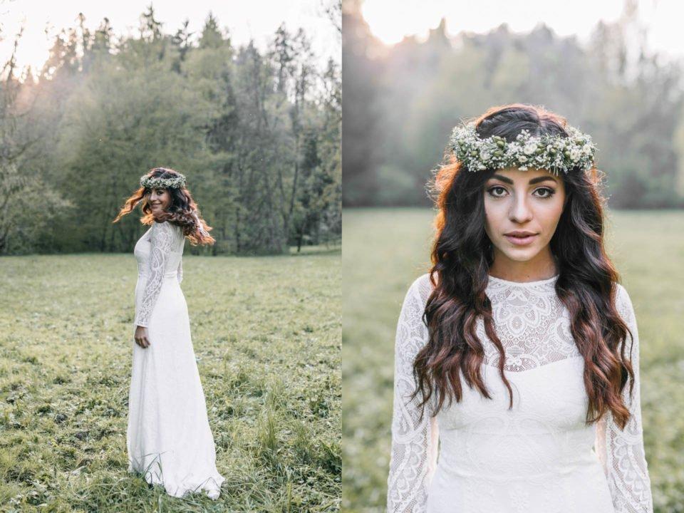 Boho Braut mit Langarmkleid und Blumenkranz im Haar