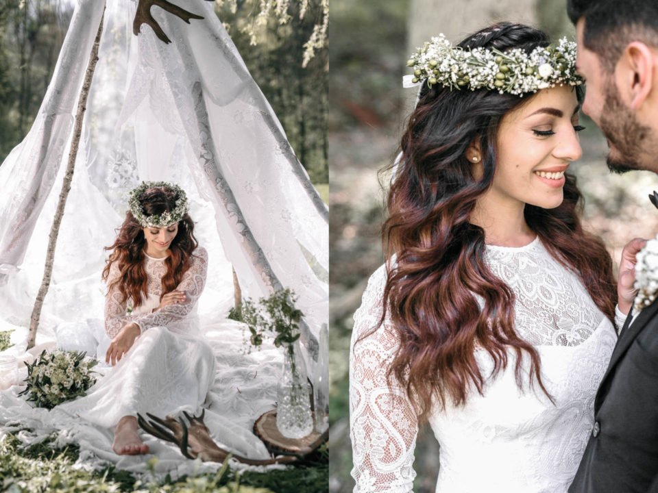 Braut im Tipi und strahlenden Brautpaar rechts