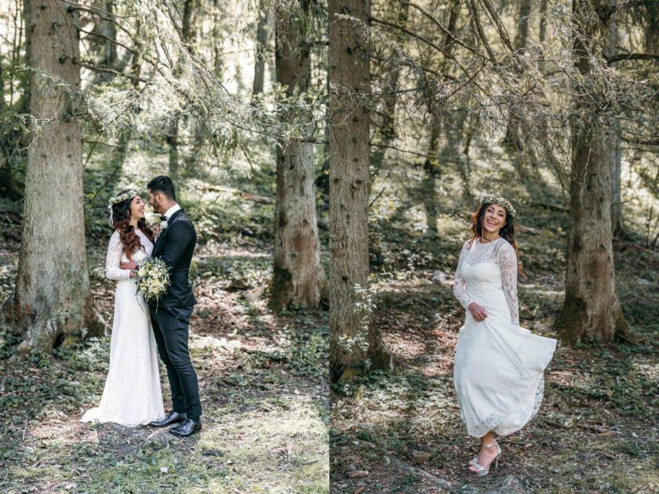 Brautpaar im Wald und tanzende Braut rechts
