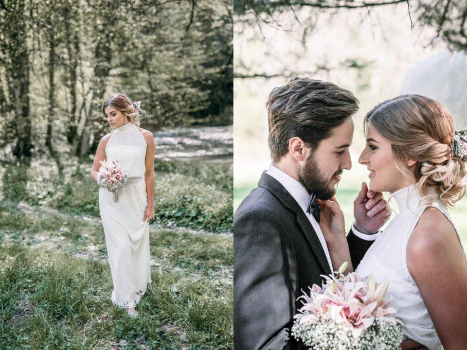 Braut im New Boho Brautkleid und Brautpaar, das sich anlächelt rechts