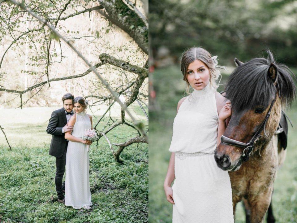 Brautpaar und Braut mit Pferd rechts