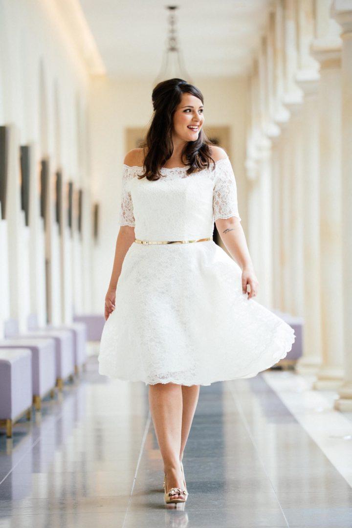 Plus Size Vintage Brautkleid kurz in Spitze