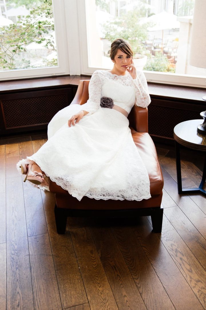 Vintage Brautkleid große Größe mit Langam Spitzenbolero