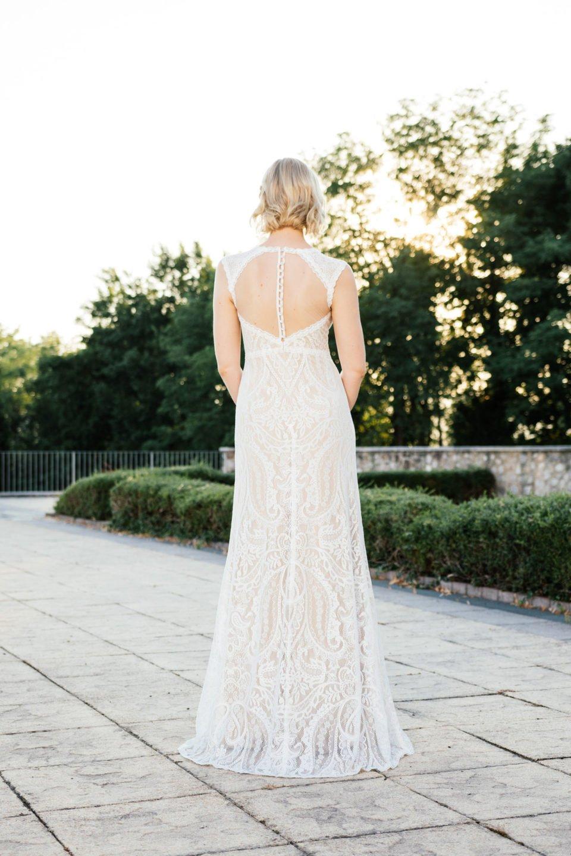 Brautkleid Nude – transparenter Tüllrücken