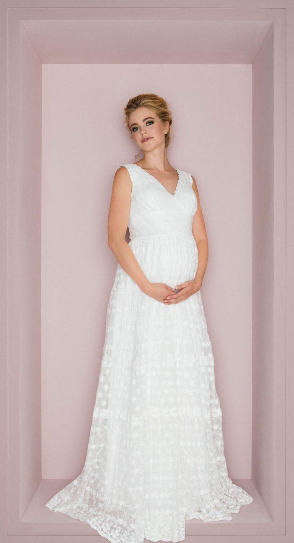Brautkleid A-Linie schwangere Braut