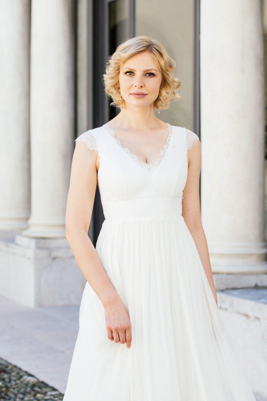 Brautkleid Seide aus der Nähe