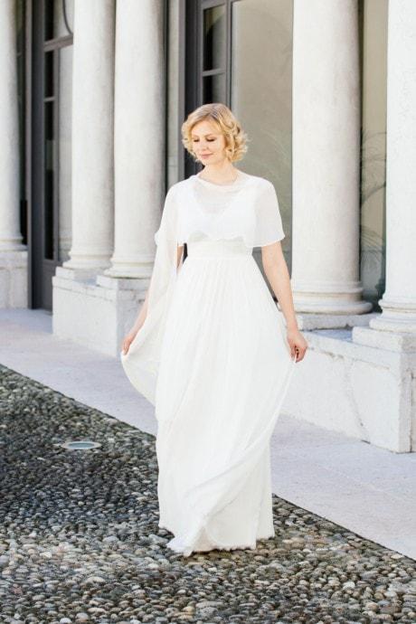 Brautkleid Seide mit V-Ausschnitt – Fleur