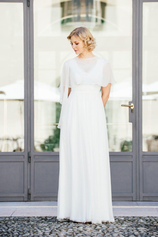 Brautkleid Seide mit mit Seidenstola