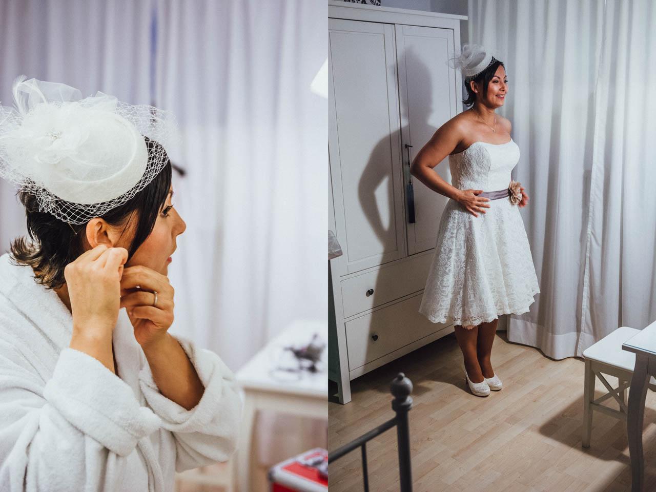 Braut im kurzen Brautkleid
