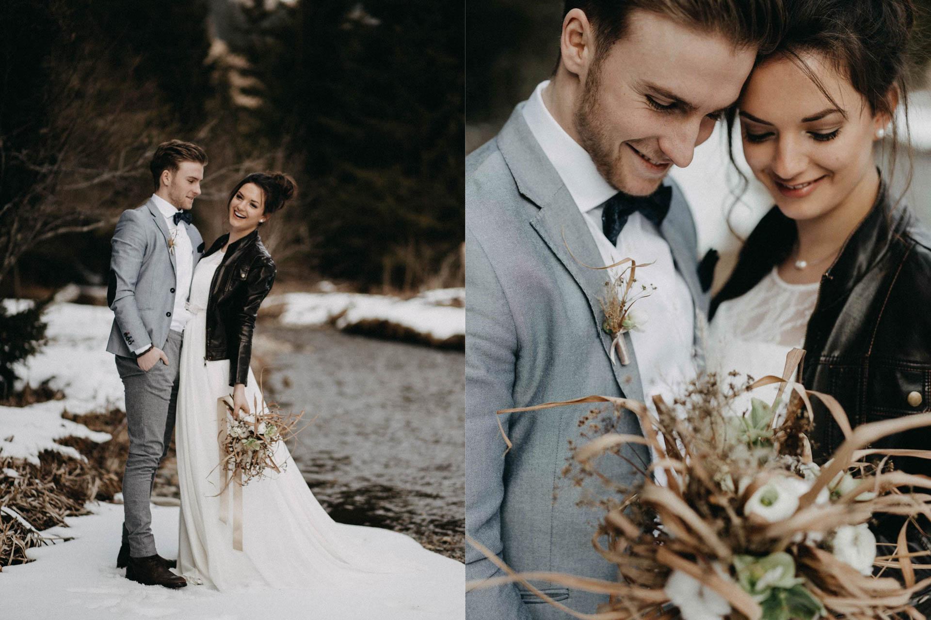 Braut mit Brautkleid im Winter