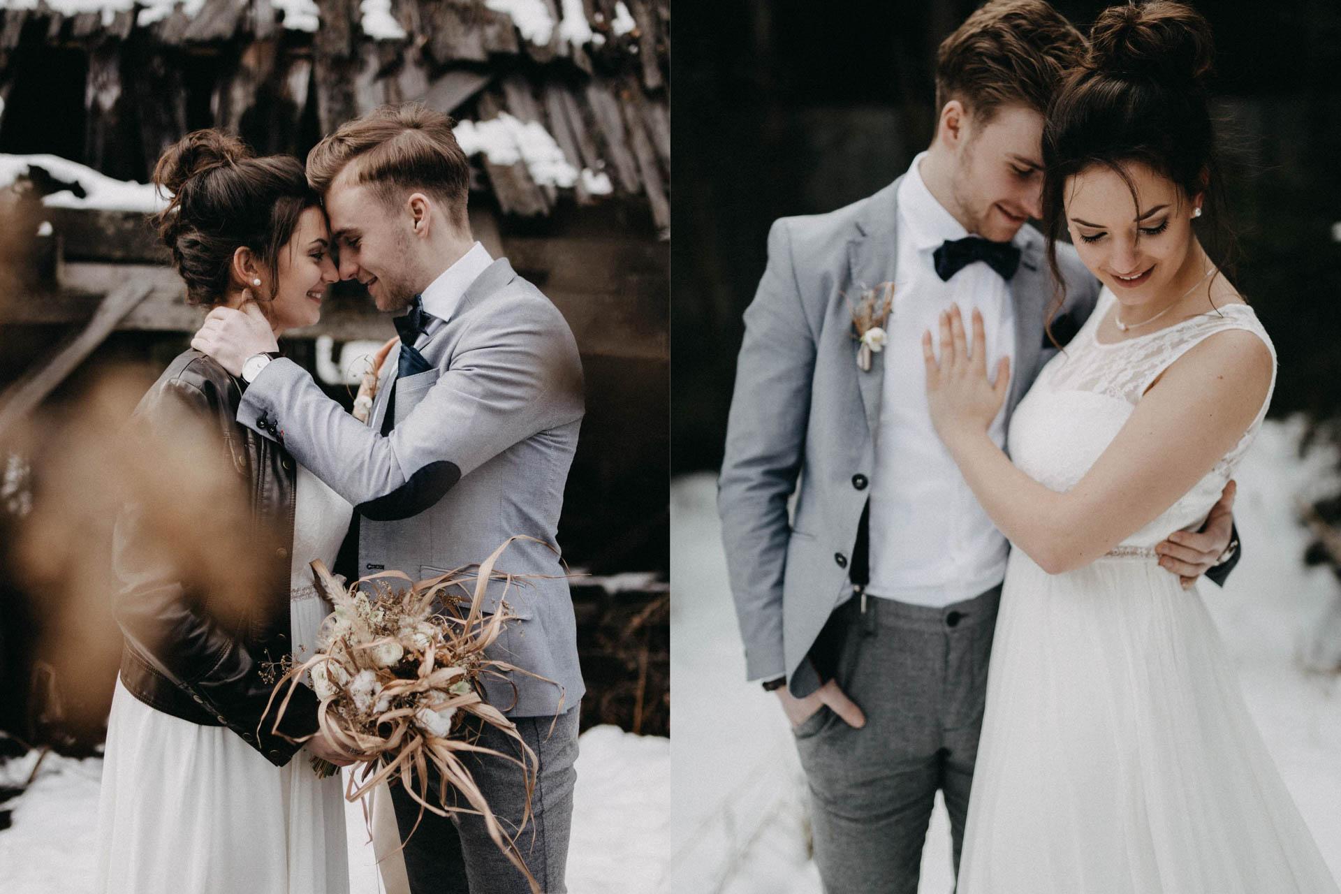 verliebtes Brautpaar im Winter