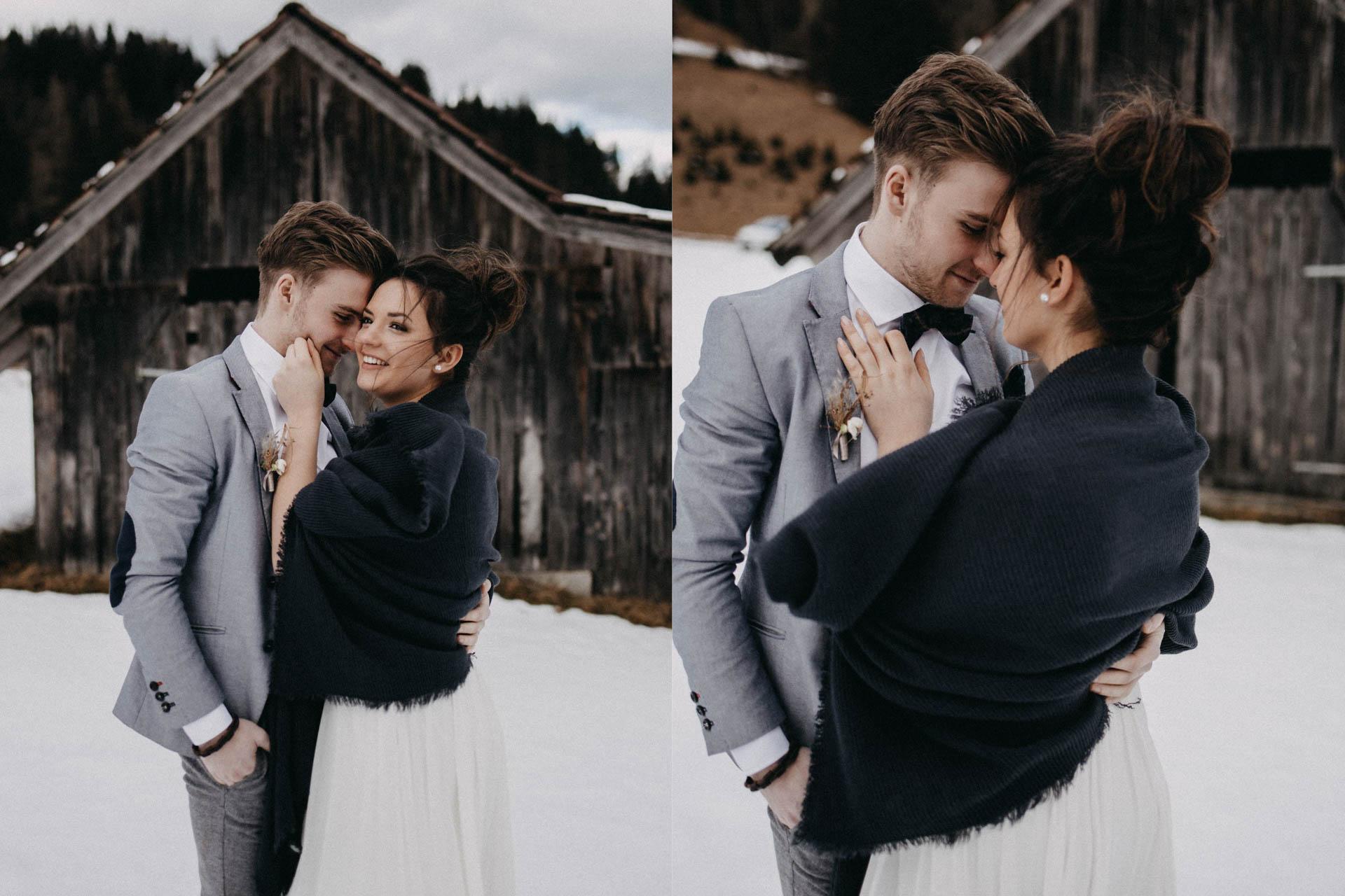 Brautkleid im Winter mit Schal