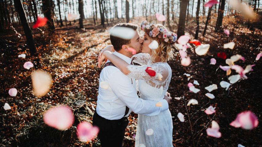 Making-of zum Brautpaarshooting mit Vintage Spitzenkleid im Boho Style