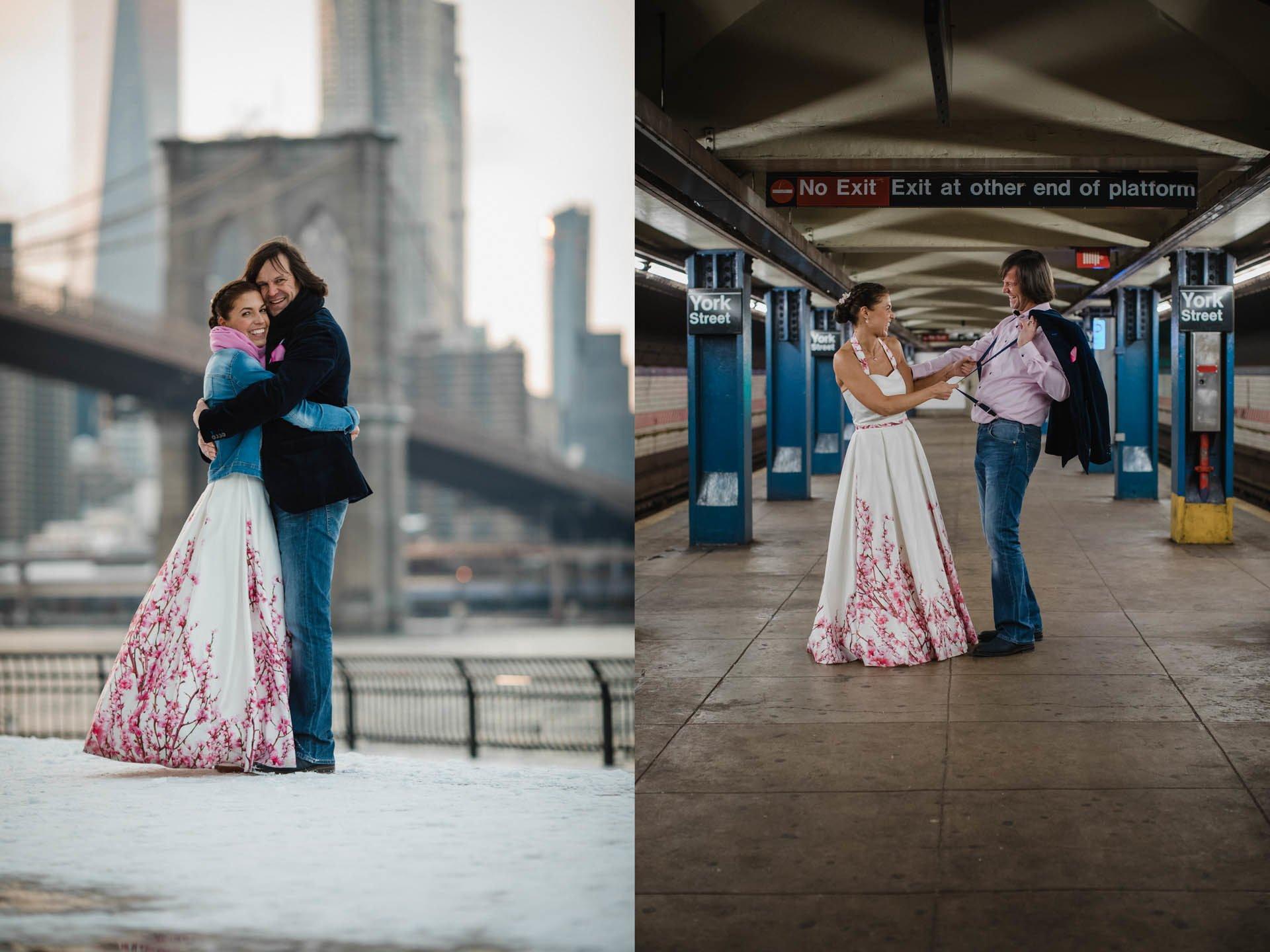 Brautpaar auf dem New Yorker U-Bahnsteig