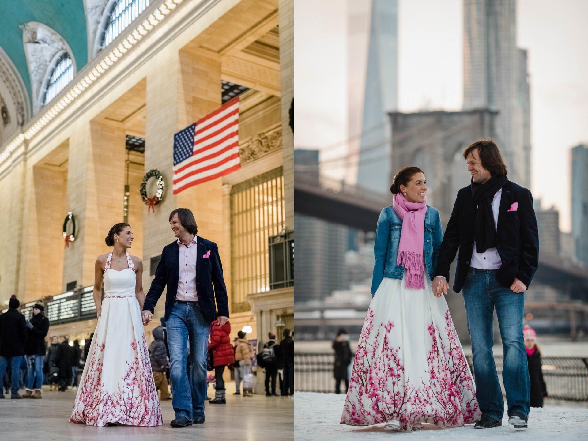 Hochzeit in New York, Brautpaar Hand in Hand und Braut in Brautkleid mit Kirschblüten