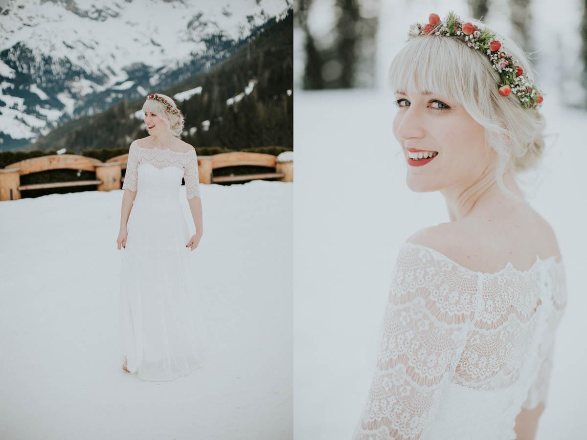 lächelnde Braut im Schnee