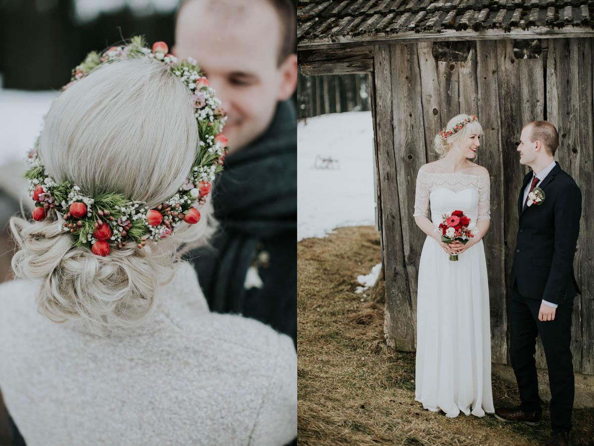 Winterbraut mit Blumenkranz im Haar