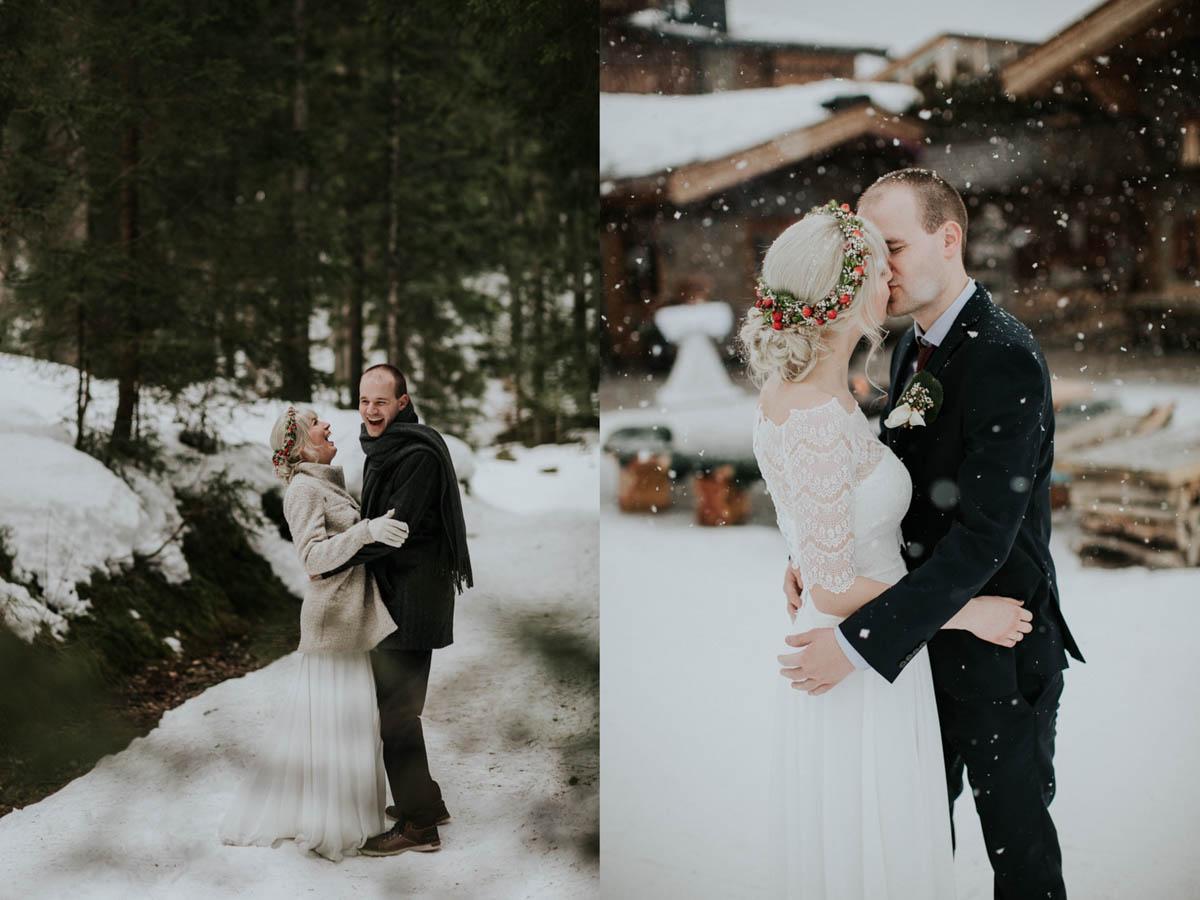 Brautpaar küsst sich während es schneit
