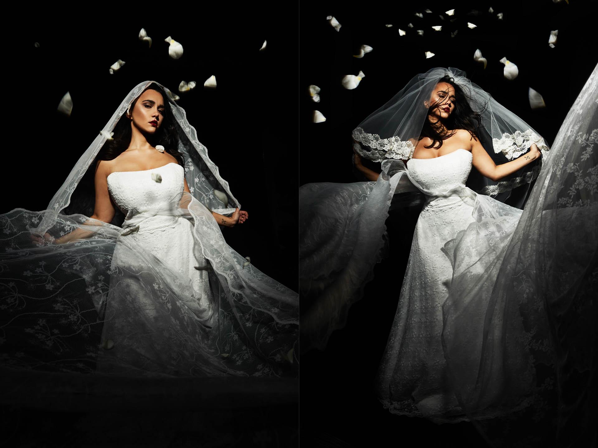 Plus Size Braut spielt mit Spitze