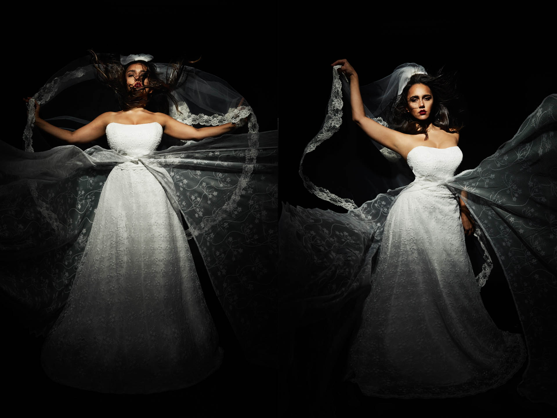 Plus Size Hochzeitskleid mystisch inszeniert