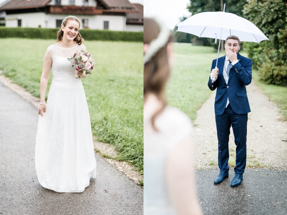 First Look Brautpaar bei Hochzeit im September