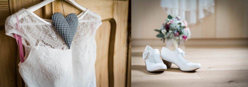 Brautkleid mit Trägern und Brautschuhe beim getting ready