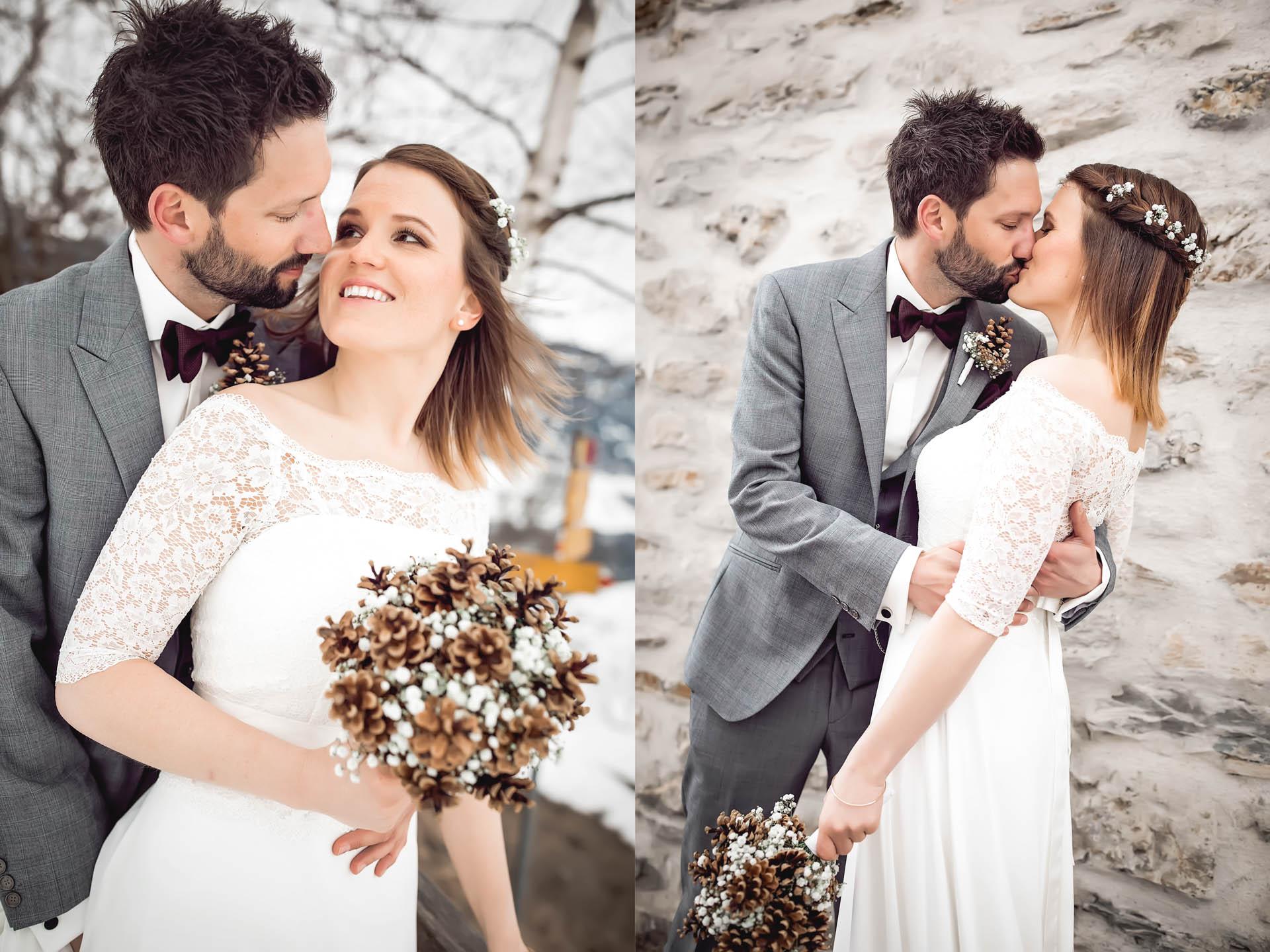 Brautpaar schaut sich an und küsst sich